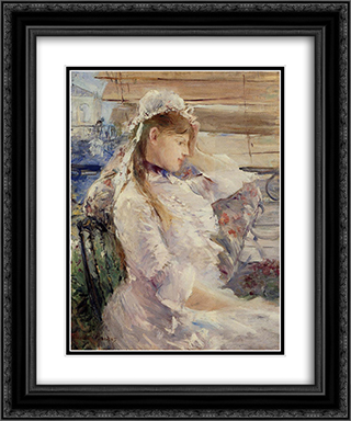 Behind the Blinds 20x24 Black or Gold Ornate Framed and Double Matted Art Print by Berthe Morisot
