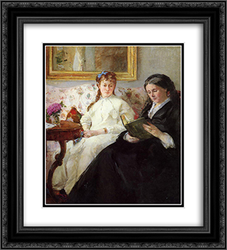 Mother and Sister of the Artist 20x22 Black or Gold Ornate Framed and Double Matted Art Print by Berthe Morisot