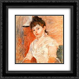 Jeune Fille en Blanc 20x20 Black or Gold Ornate Framed and Double Matted Art Print by Berthe Morisot