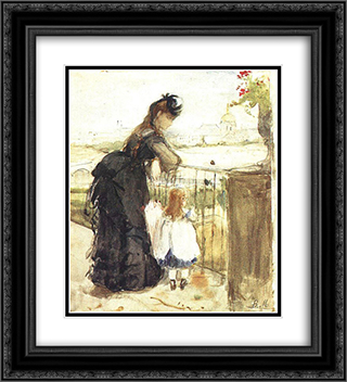 On the Balcony 20x22 Black or Gold Ornate Framed and Double Matted Art Print by Berthe Morisot