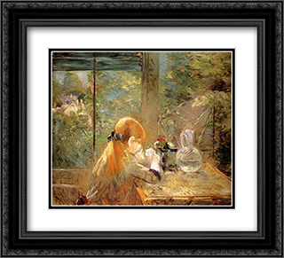 On The Veranda 22x20 Black or Gold Ornate Framed and Double Matted Art Print by Berthe Morisot