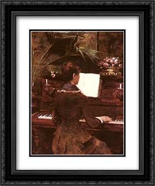 At the Piano 20x24 Black or Gold Ornate Framed and Double Matted Art Print by Louise Abbema