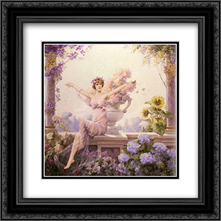 Flora 20x20 Black or Gold Ornate Framed and Double Matted Art Print by Louise Abbema