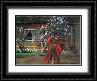 Thanatos 24x20 Black or Gold Ornate Framed and Double Matted Art Print by Jacek Malczewski