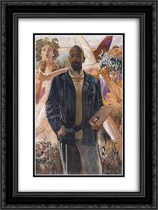 Self-Portrait 18x24 Black or Gold Ornate Framed and Double Matted Art Print by Jacek Malczewski