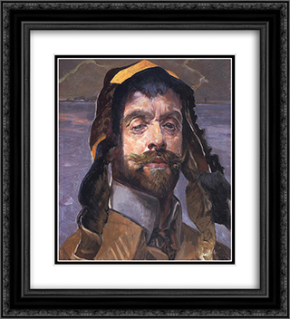 Self-Portrait 20x22 Black or Gold Ornate Framed and Double Matted Art Print by Jacek Malczewski