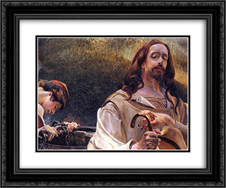 Christ and the Samaritan Woman 24x20 Black or Gold Ornate Framed and Double Matted Art Print by Jacek Malczewski