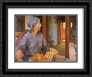 The court 24x20 Black or Gold Ornate Framed and Double Matted Art Print by Jacek Malczewski