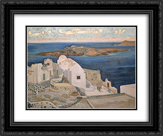 Santorini 24x20 Black or Gold Ornate Framed and Double Matted Art Print by Constantine Maleas