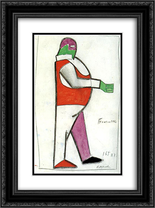Fat Man 18x24 Black or Gold Ornate Framed and Double Matted Art Print by Kazimir Malevich