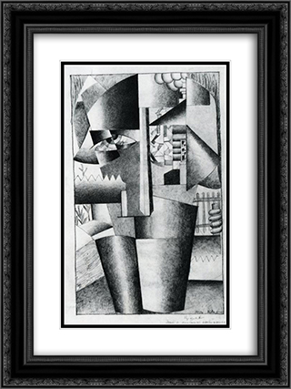 Peasant Woman with Buckets 18x24 Black or Gold Ornate Framed and Double Matted Art Print by Kazimir Malevich