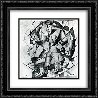 Reaper 20x20 Black or Gold Ornate Framed and Double Matted Art Print by Kazimir Malevich