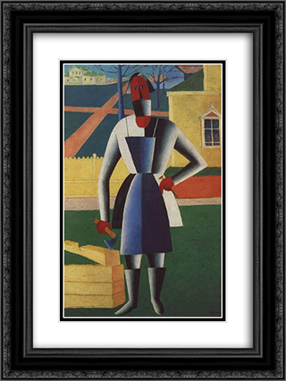 Carpenter 18x24 Black or Gold Ornate Framed and Double Matted Art Print by Kazimir Malevich