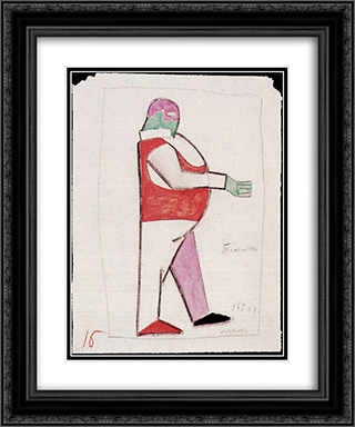 Costume design for the opera 'Victory over the Sun' 20x24 Black or Gold Ornate Framed and Double Matted Art Print by Kazimir Malevich