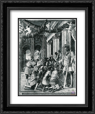 Scenes from the Life of St.Christopher 20x24 Black or Gold Ornate Framed and Double Matted Art Print by Andrea Mantegna