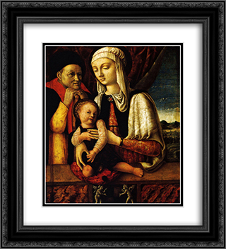 The Holy Family 20x22 Black or Gold Ornate Framed and Double Matted Art Print by Andrea Mantegna