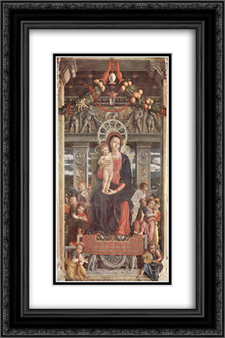 Altarpiece of San Zeno in Verona, central panel Madonna and Angels 16x24 Black or Gold Ornate Framed and Double Matted Art Print by Andrea Mantegna