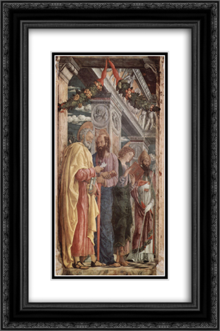 Altarpiece of San Zeno in Verona, left panel of St. Peter and St. Paul, St.John the Evangelist, St. Zeno 16x24 Black or Gold Ornate Framed and Double Matted Art Print by Andrea Mantegna