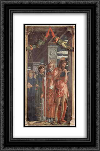 Altarpiece of San Zeno in Verona, right panel of St. Benedict, St. Lawrence, St. Gregory and St. John the Baptist 16x24 Black or Gold Ornate Framed and Double Matted Art Print by Andrea Mantegna