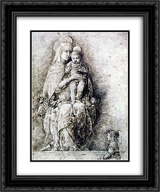 Virgin and Child 20x24 Black or Gold Ornate Framed and Double Matted Art Print by Andrea Mantegna