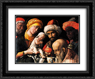 Adoration of the Magi 24x20 Black or Gold Ornate Framed and Double Matted Art Print by Andrea Mantegna