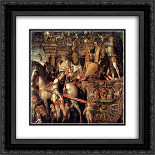 Julius Caesar on a triumphal car 20x20 Black or Gold Ornate Framed and Double Matted Art Print by Andrea Mantegna