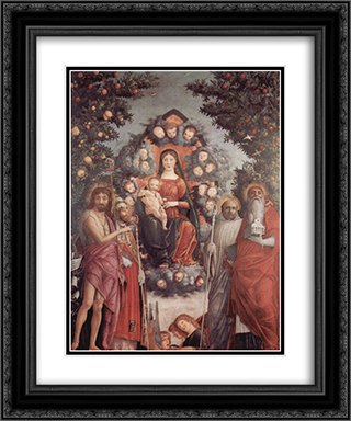 Madonna with saints St. John theBaptist, St. Gregory I the Great, St. Benedict 20x24 Black or Gold Ornate Framed and Double Matted Art Print by Andrea Mantegna