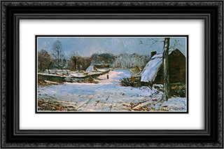 Cottages in the Snow 24x16 Black or Gold Ornate Framed and Double Matted Art Print by Maxime Maufra