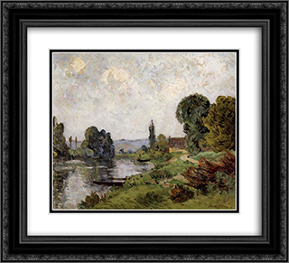 Landscape 22x20 Black or Gold Ornate Framed and Double Matted Art Print by Maxime Maufra