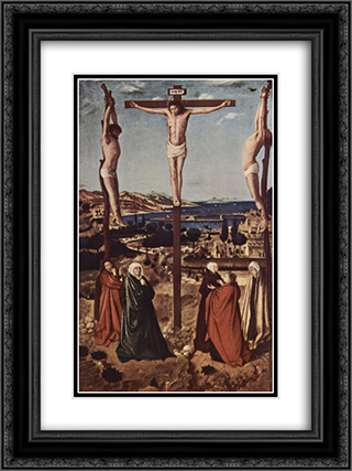Crucifixion 18x24 Black or Gold Ornate Framed and Double Matted Art Print by Antonello da Messina
