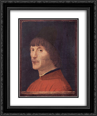 Portrait of a Man 20x24 Black or Gold Ornate Framed and Double Matted Art Print by Antonello da Messina