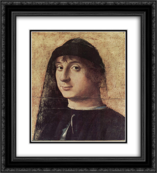 Portrait of a Man 20x22 Black or Gold Ornate Framed and Double Matted Art Print by Antonello da Messina