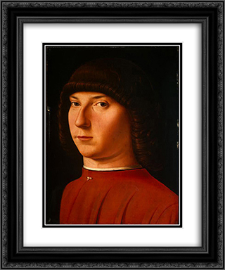Portrait of a Young Man 20x24 Black or Gold Ornate Framed and Double Matted Art Print by Antonello da Messina