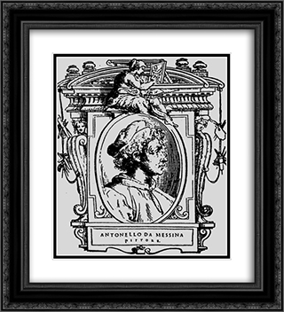 Painter (Self-portrait) 20x22 Black or Gold Ornate Framed and Double Matted Art Print by Antonello da Messina