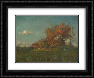 The Fire of Autumn 24x20 Black or Gold Ornate Framed and Double Matted Art Print by Willard Metcalf