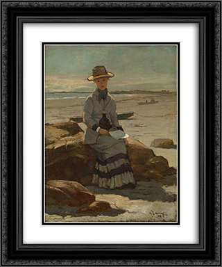 Young Lady on the Beach 20x24 Black or Gold Ornate Framed and Double Matted Art Print by Willard Metcalf