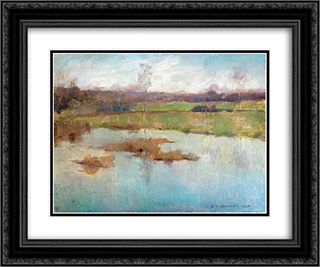 Pond Giverny 24x20 Black or Gold Ornate Framed and Double Matted Art Print by Willard Metcalf