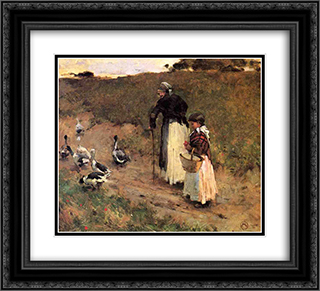 Old Woman with Child and Goose 22x20 Black or Gold Ornate Framed and Double Matted Art Print by Willard Metcalf