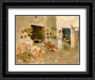 Pottery Shop at Tunis 24x20 Black or Gold Ornate Framed and Double Matted Art Print by Willard Metcalf