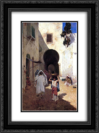 Street Scene Tangiers 18x24 Black or Gold Ornate Framed and Double Matted Art Print by Willard Metcalf