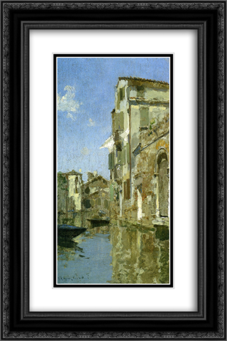 Venice 16x24 Black or Gold Ornate Framed and Double Matted Art Print by Willard Metcalf