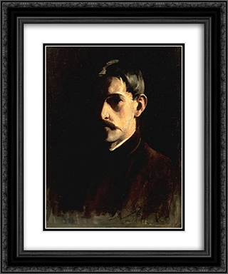 Self-Portrait 20x24 Black or Gold Ornate Framed and Double Matted Art Print by Willard Metcalf