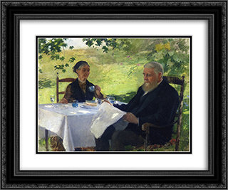 Tea on the Porch 24x20 Black or Gold Ornate Framed and Double Matted Art Print by Willard Metcalf