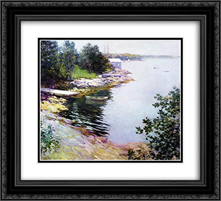 The Landing Place 22x20 Black or Gold Ornate Framed and Double Matted Art Print by Willard Metcalf