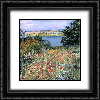 Poppy Garden 20x20 Black or Gold Ornate Framed and Double Matted Art Print by Willard Metcalf
