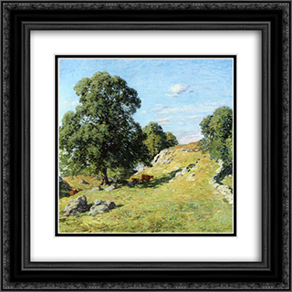 Pasture, Old Lyme 20x20 Black or Gold Ornate Framed and Double Matted Art Print by Willard Metcalf