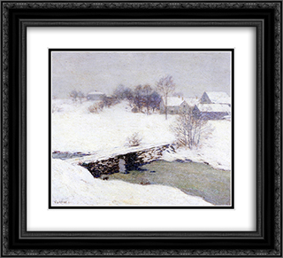 The White Mantle 22x20 Black or Gold Ornate Framed and Double Matted Art Print by Willard Metcalf