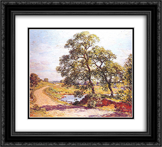 The Winding Road 22x20 Black or Gold Ornate Framed and Double Matted Art Print by Willard Metcalf