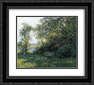 The Bower 22x20 Black or Gold Ornate Framed and Double Matted Art Print by Willard Metcalf