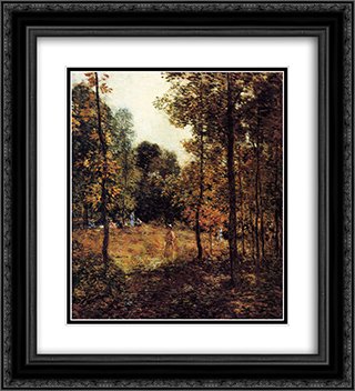 The Picnic 20x22 Black or Gold Ornate Framed and Double Matted Art Print by Willard Metcalf